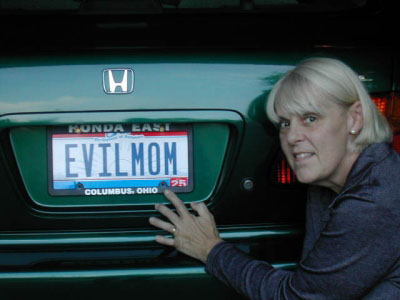 Evil Mom Beast with her actual license plate