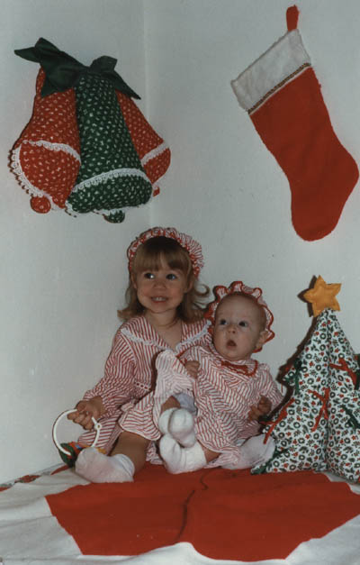 Christmas time in 1980, with her sister