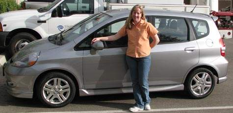 Mrs. splorp! with her 2007 Honda Fit