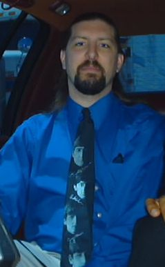 splorp! with long hair, goatee and my Beatles tie