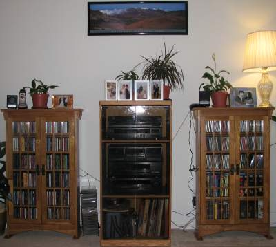 Stereo component cabinet and CD cabinets